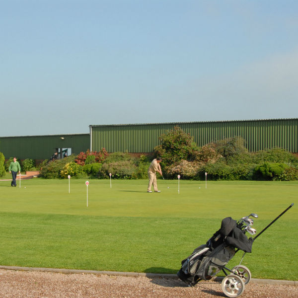 The FREE putting green and practice bunker at Ombersley